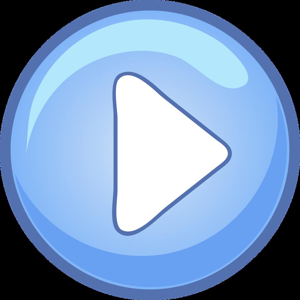 bouton, vidéo, jouer