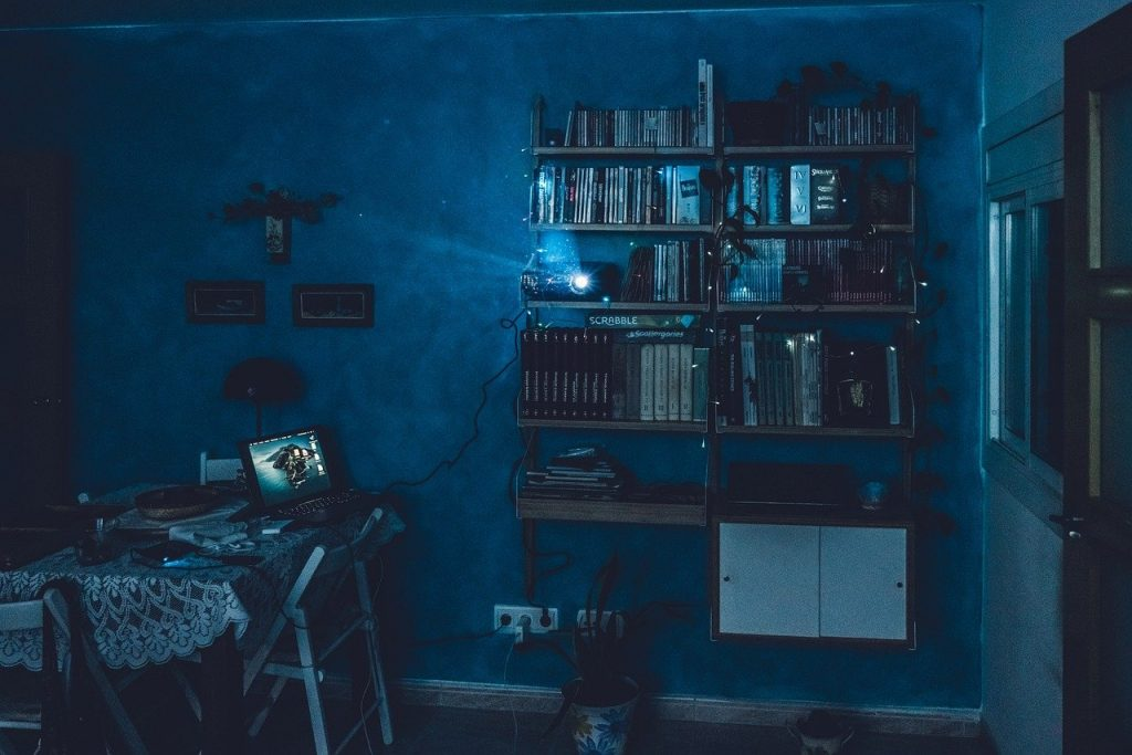 cinéma, projecteur, maison