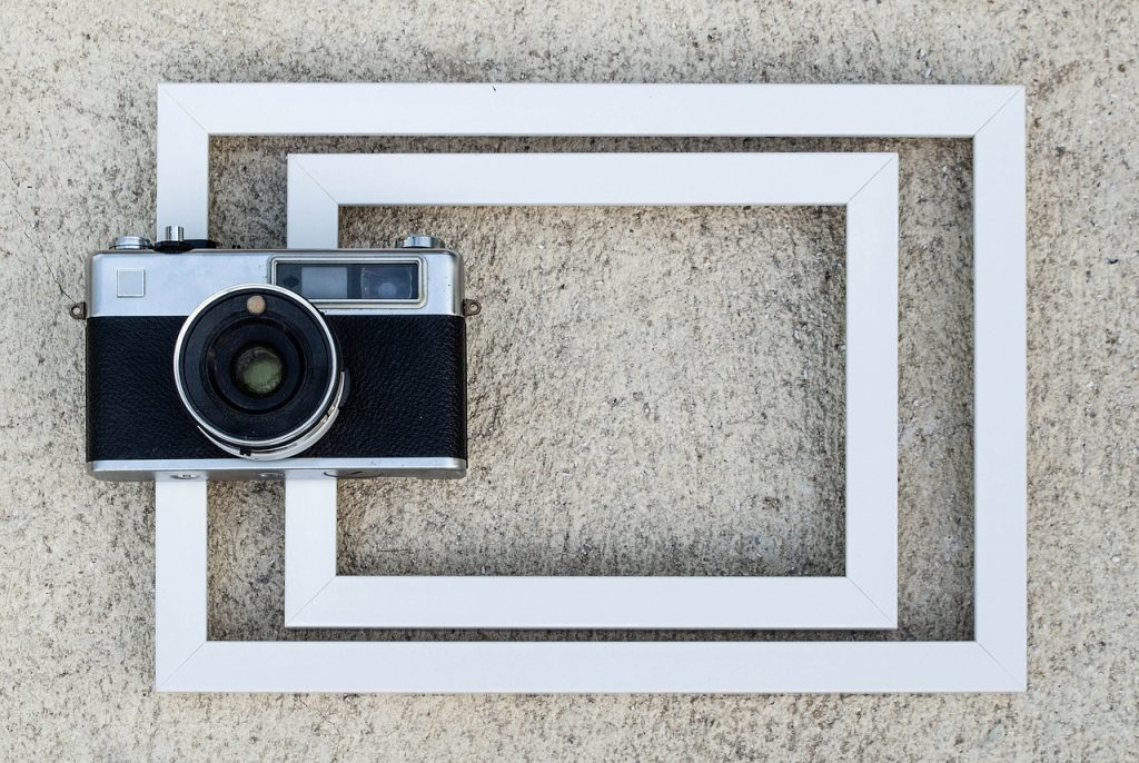 cadre, vieille caméra, film