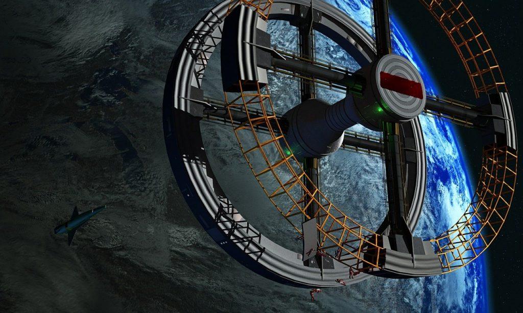 station spatiale, voyage spatial, terre