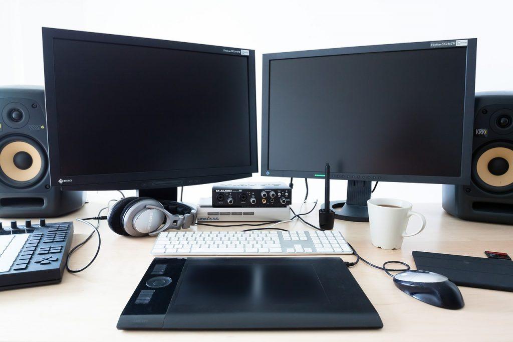 ordinateur, calculatrice, en milieu de travail